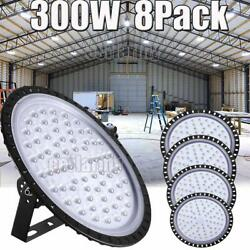 8X 300W UFO LED High Bay Light Shop Lights Fixture Factory Commercial Lighting