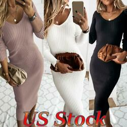 ❤Women Slim Fit Bodycon V Neck Knitted Ribbed Dress Party Long Sleeve Dress US❤ $8.99