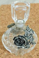 Vintage Crystal Perfume Bottle With Pewter Rose Made in France by VCA $14.99