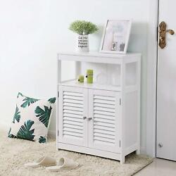 Bathroom Storage Cabinet Floor with Adjustable Shelf and Double Shutter Door $58.98