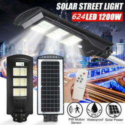 1200W 624 LED Commercial Solar Street Wall Light Motion Sensor Lamp Dusk to Dawn