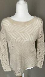 Anthropologie Angel Of The North Womens Cream Knit Pullover Sweater Size Medium $19.00