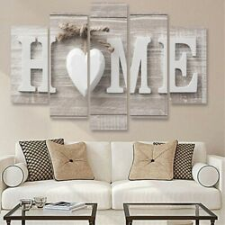 5Pcs Concise Fashion Wall Paintings Home Letter Printed Photo Art Wedding Decor $12.79