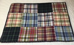 Patchwork Quilt Wall Hanging Large Squares Madras Plaids Navy Burgundy Blue $13.95