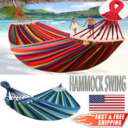 2 Person Double Camping Hammock Chair Bed Outdoor Hanging Swing Sleeping Gear $27.36
