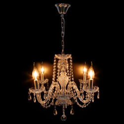 4 Arms Chandelier Crystal Glass Ceiling Light E12 Pendant Lamp Transparen Color $54.99