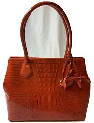 Brahmin Anytime Tote Party Red Glossy With 2 Roses Tassels $185.00