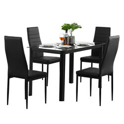 5Pcs Dining Table Sets Glass Metal 4 PU Leather Chairs Kitchen Room Furniture US $238.99