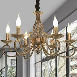 6 Light Chandeliers French Country Vintage Chandelier Antique Bronze Pendant New $134.46