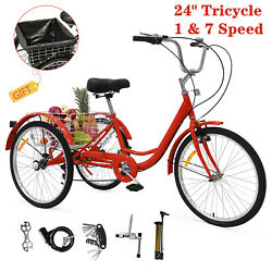 24quot; Adult Tricycle 1amp;7 Speed 3 Wheels Trike Bicycle Bike w Shopping Basket US $239.00