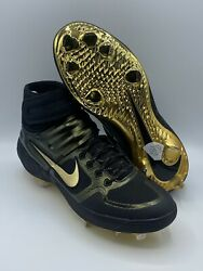 Nike Alpha Huarache Elite 2 Mid GOLD BLACK Baseball Cleats Size 11 CI2228 003 $110.00