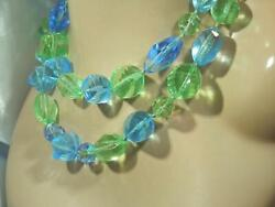 WOW Soo Showy Blue Crystal Green Lucite Vintage 60#x27;s Large Beaded Necklace 932n0 $26.99