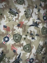 1 2 yd Military Novelty Quilt Fabric US Marines Camo Background $6.99