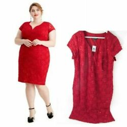Little Red Dress Women#x27;s Plus Cocktail Candy Red Lace Evening Shift STRETCHY NWT $14.95