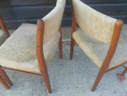 Vintage retro antique kitchen dining wooden Danish chairs teak reupholstery x 3 GBP 129.00