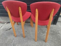 Vintage retro antique kitchen dining wooden Danish chairs HØNG reupholstery x 6 GBP 299.00