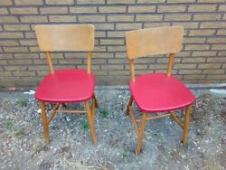 Vintage retro antique kitchen dining wooden Danish chairs red 50s 60s x 2 GBP 129.00