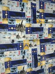 1 FQ Military Novelty Quilt Fabric US Air Force Striped Collage Planes Logos $3.29