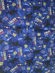 1 FQ Military Novelty Quilt Fabric US Air Force on Blue Helicopters Stars Logos $3.29
