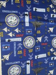 1 FQ Military Novelty Quilt Fabric US Air Force on Blue Seals Planes Medals $3.29