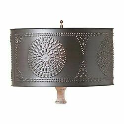 Table Lamp Drum Shade with Chisel in Kettle Black Lampshade Spider Vintage Style $50.83