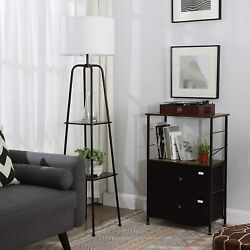 DEWENWILS Modern Floor Lamp with Shelves Standing Storage Lamp for Living Room $65.99