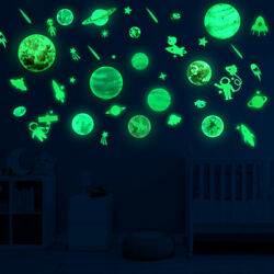 Planets amp; Stars Glow In The Dark Wall Stickers Kids Bedroom Decals Ceiling Decor $13.99