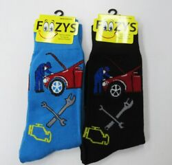 2 Pairs Men#x27;s Foozys Auto Car Mechanic Fun Novelty Socks 1 Blue and 1 Black $9.95