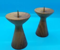 Vintage Pair Wooden Danish Mid Century Modern Candle Sticks $45.00
