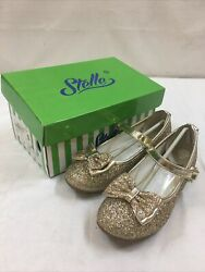 Girls Toddlers formal party glitter sparkly mary jane shoes rose gold 5 12 $15.99