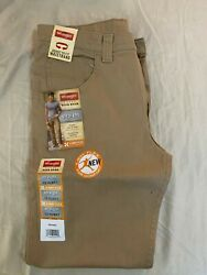 Wrangler Boys 12 Husky Straight Fit Khaki Jeans 4 way Flex NEW $12.00