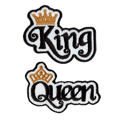 King and Queen Script Set with Gold Crown Embroidered Iron on Patches $15.95