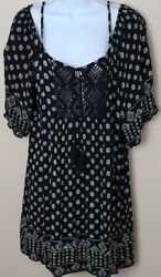 Angie Women#x27;s Pullover Boho Style Relaxed Fit Dress Coverup Black Size Large $19.99
