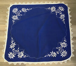 Vintage Small Square Tablecloth Flower amp; Leaf Embroidery Dark Blue amp; White $12.25
