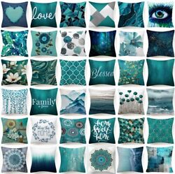18x18quot; Cushion COVER Teal Blue White Double Sided Decorative Throw Pillow Case