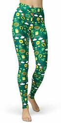 Women#x27;s St. Patrick#x27;s Day Green Printed Leggings One Size Plus St.patrick#x27;s $20.51