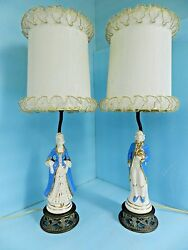 Antique? Pair Lady amp; Gentleman Victorian Lamps 1900#x27;s w Orig lamp Shades NICE $252.00