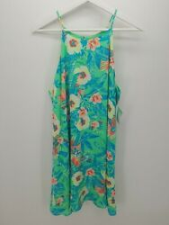 Decree Womens Neon Green Blue Floral Patterned Beach Dress Size XL $24.99