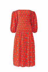 RHODE Women#x27;s Dress Red Small S Sheath Off Shoulder Floral Smocked $425 #364 $154.97