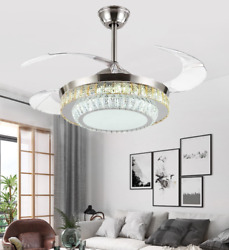 42quot; Modern Retractable Ceiling Fan Light Remote Control Crystal LED Chandelier $207.58