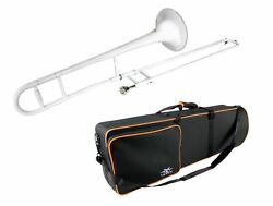 Band TROMBONE Bb SOLID BRASS with WHITE Color Finish Case New $129.98