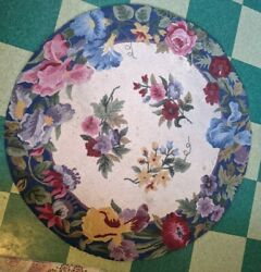 ANTIQUE ART DECO VICTORIAN RUG 46quot; ROUND HAND WOVEN VTG OLD RARE 4#x27; TABLE ROOM $148.00
