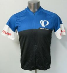 Mens Pearl Izumi Short Sleeve Cycling Jersey Polyester Size L 1 2 Zip Blue Black $24.99