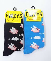 2 Pairs Women#x27;s Foozys When Pigs Fly Flying Pink Pig Print Fun Novelty Socks $9.95