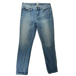 J Crew Stretch Womens Size 25 Light Wash Faded Denim Tapered Blue Jeans $19.99