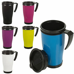 Insulated Double Wall Non Spill Travel Mug With Lid Easy Grip Coffee Tea Hot Cup $8.91