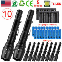 10Pack Zoom 990000LM Zoom LED Flashlight Rechargeable Battery Torches Charger $12.69