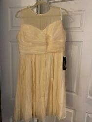 J Crew $250 Silk Chiffon Kylie Dress Champagne Cream White Wedding Formal 14 NWT
