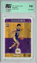 Lonzo Ball 2017 2018 Hoops #252 NBA Rookie Card PGI 10