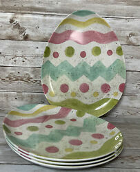 Well Dressed Home Plates Pastel Decorated Speckle Egg Shaped Melamine Set Of 4 $17.49